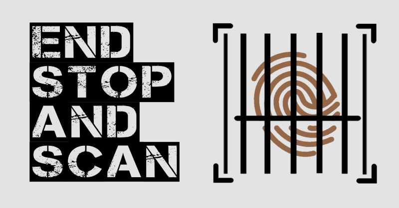 The Stop The Scan logo, a brown fingerprint behind bar graphics